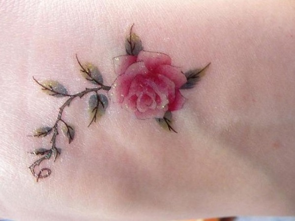 Beautiful Pink Rose Flower Tree Tattoo For Women Foot