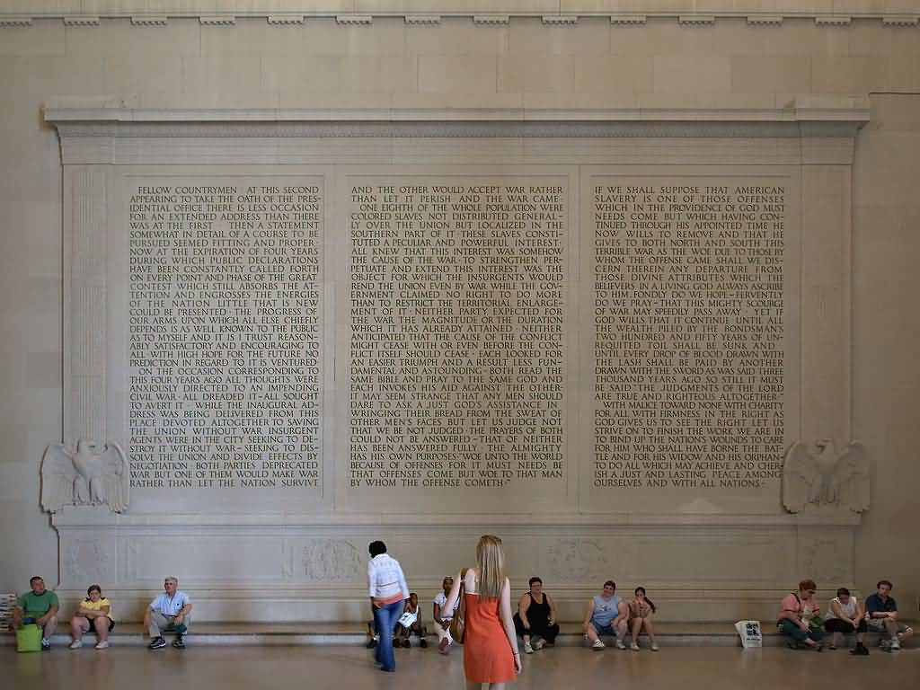 Beautiful Quotes Carvings On The North Wall Inside The Lincoln Memorial In Many Visitor