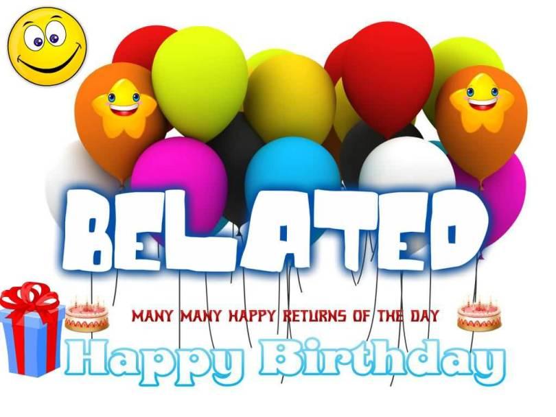 Belated Happy Birthday Greeting Balloon Image