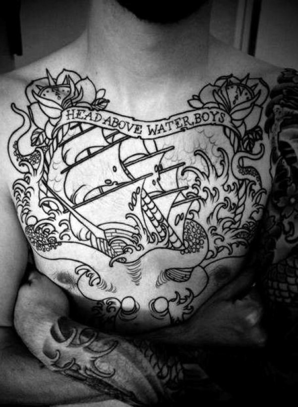 Black Ink Amazing Banner Quote And Pirate Ship Tattoo For Men Chest
