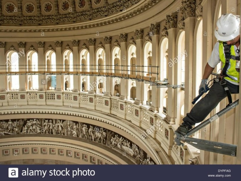 Brave Worker Create A Scaffold Inside United States Capital Photo
