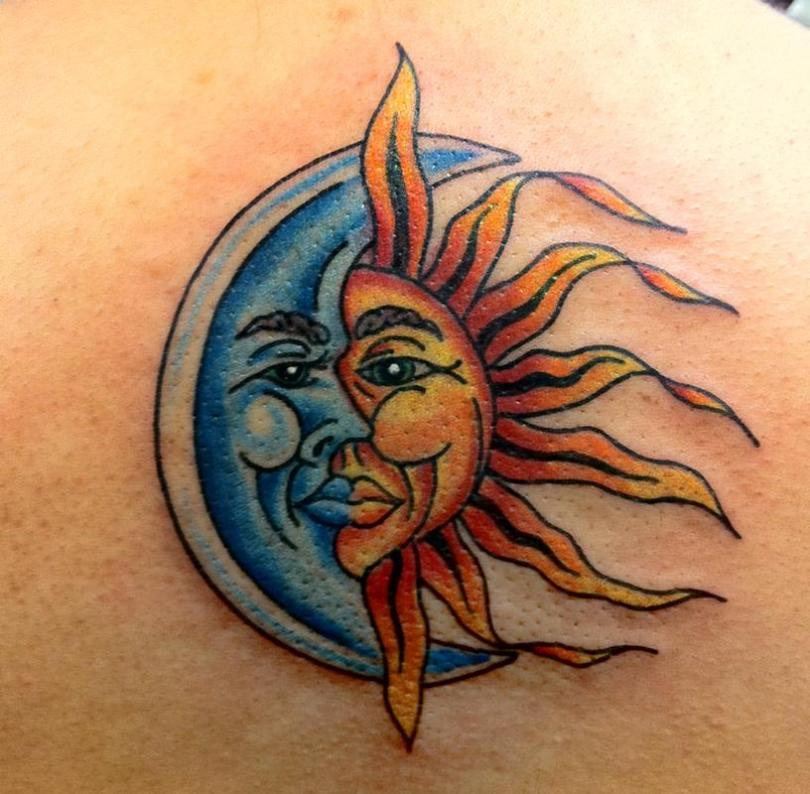 Brilliant Collaboration Of Moon And Sun Tattoo For Women Back Body