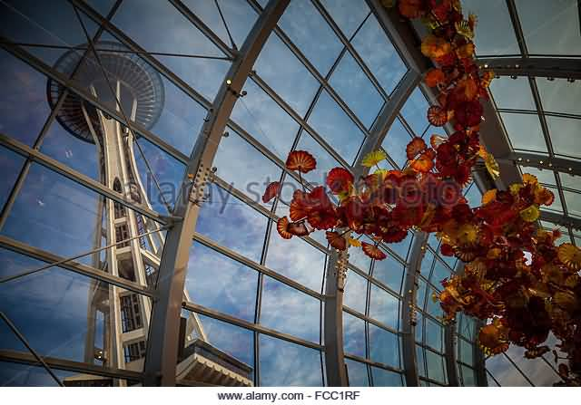 Charming Inside View Of The Space Needle In Red Flowers