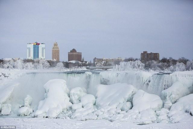 Charming Buildings With Niagara Falls Has Frozen Photo