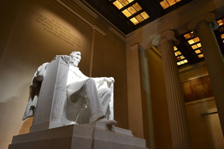 Charming Side View Of Statue Of Abraham Lincoln Inside The Lincoln Memorial