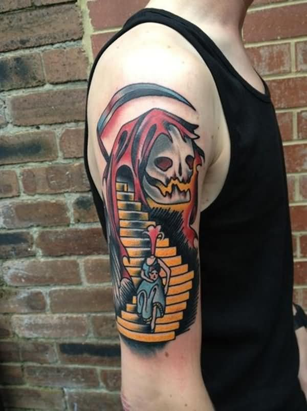 Coolest Grim Reaper Animated Tattoo Design Made On Men Sleeve