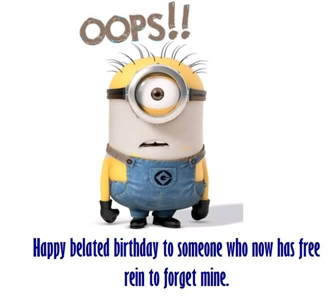 Cute Minion Wishes Happy Belated Birthday Image