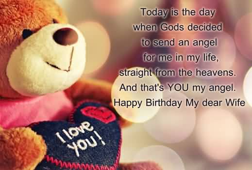 Cute Teddy Happy Birthday Wishes For Angel Wife