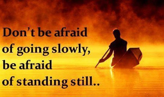 Don't be afraid of going slowly be afraid only of standing