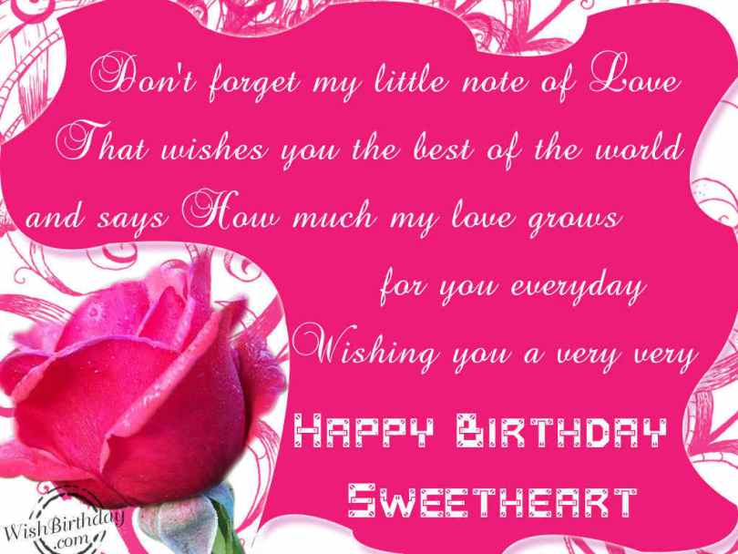Don't forget my little note of love that wishes you the best of the world and says how much my love qrows for you everyday wishing you a very very happy birthday sweetheart.