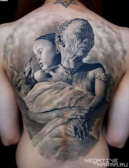 Elegant Grey Color Ink African Woman Holding Cat and Child Tattoo On Girl Back For Girls