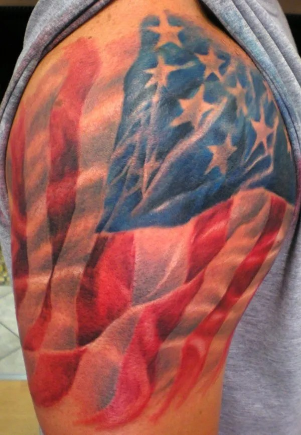 Fabulous American Flag Animated Tattoo For Men Shoulder