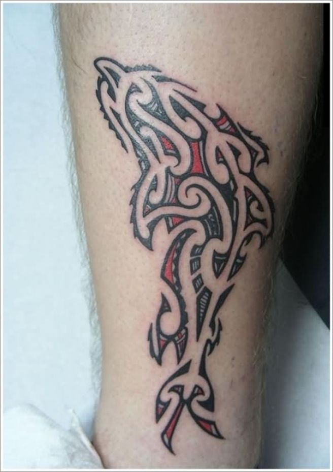 Fabulous Black Ink Dolphin Tattoo For Men Leg