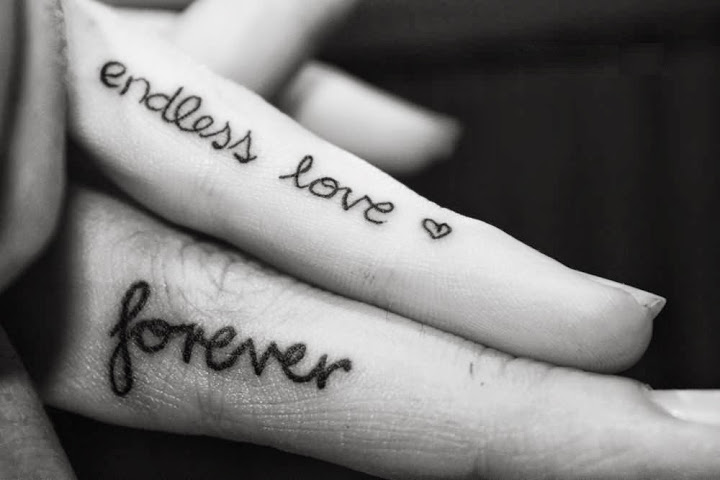 Fabulous Endless Love Forever Couple Tattoo Design On Finger