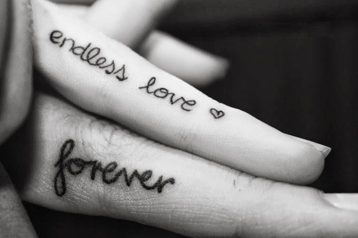 Fabulous Endless Love Forever Couple Tattoo Design On Finger