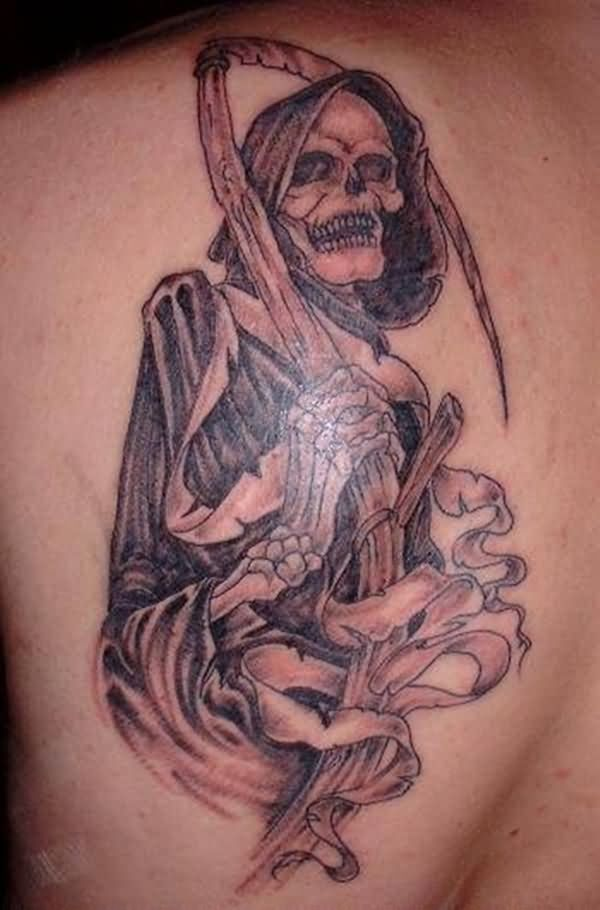 Fabulous Grey Grim Reaper Tattoo Design Made On Men Back Body