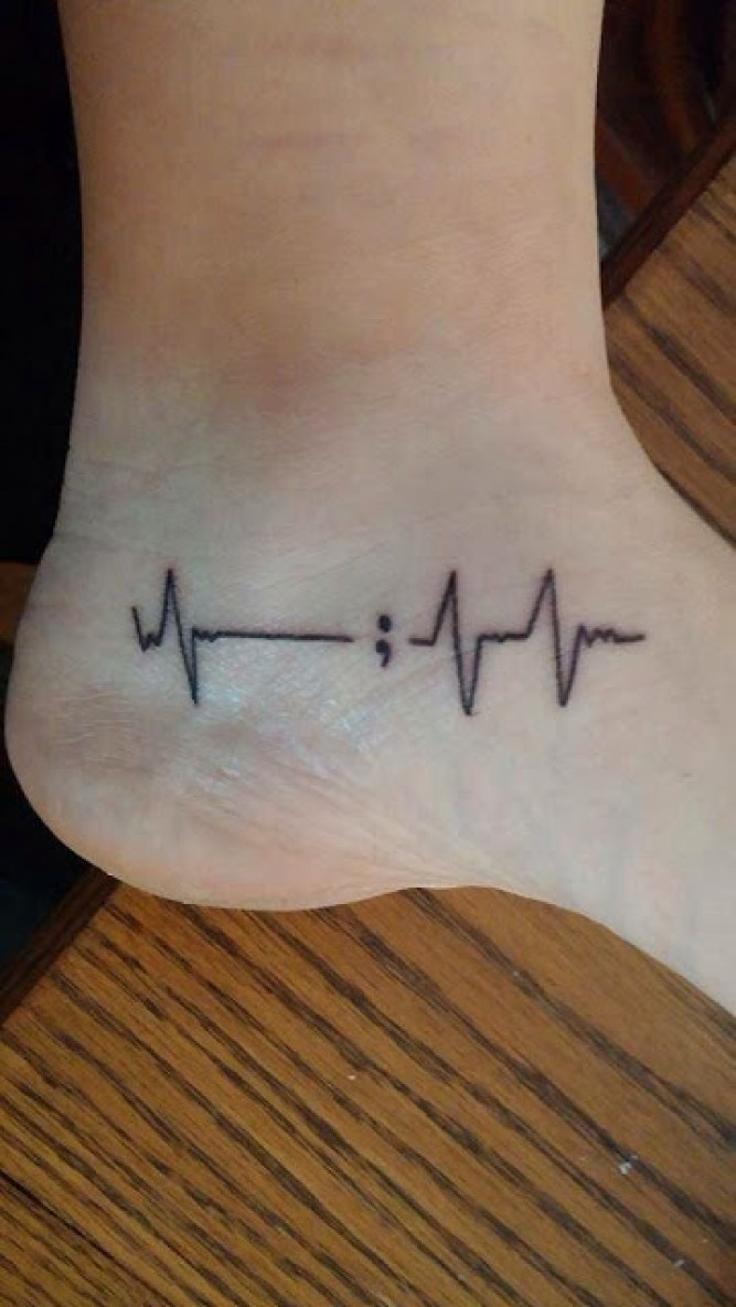 Fabulous Simple Black Ink Heartbeat Tattoo Semicolon For Ankle