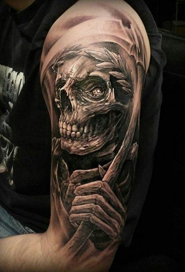 Fantastic Grey Ink Grim Reaper 3d Tattoo On Men Upper Arm