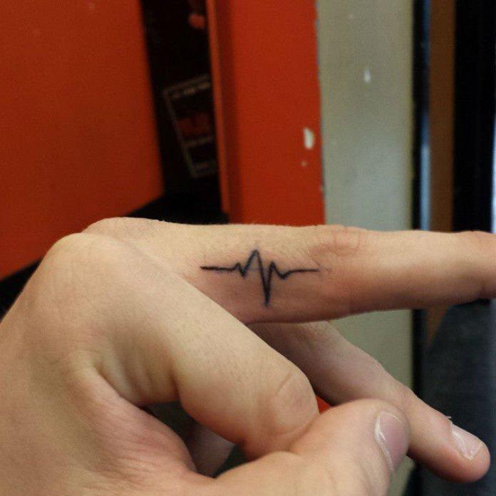 Fantastic Simple Heartbeat Black Ink Tattoo For Men Finger