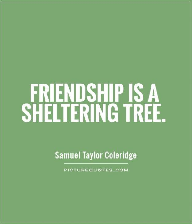 Friendship is like a sheltering Samuel Taylor Coleridge