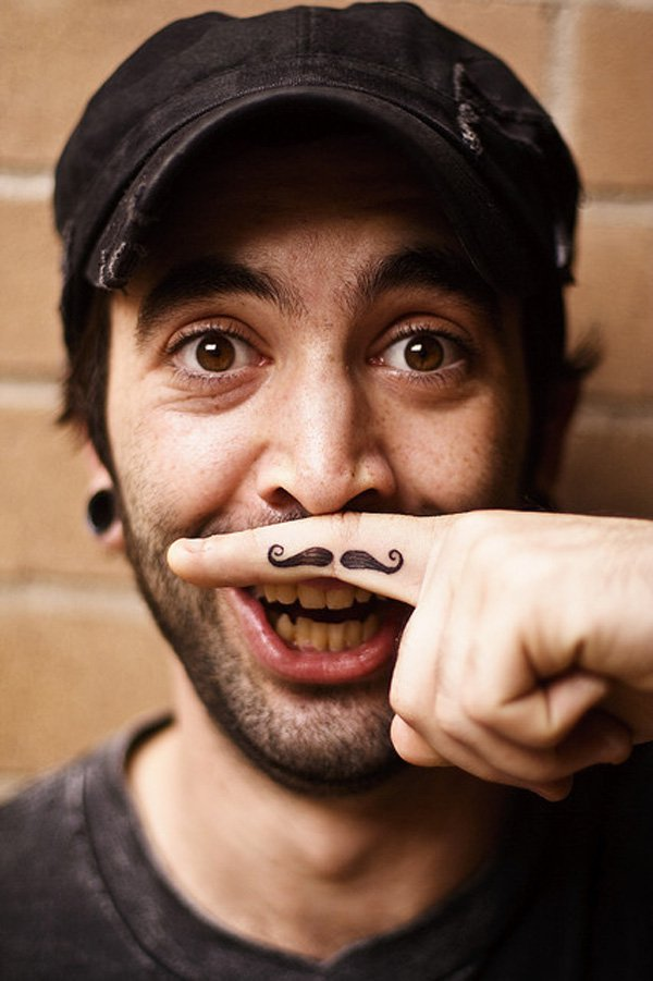 Funny Finger Moustache Tattoo With Black Ink For Man And Woman