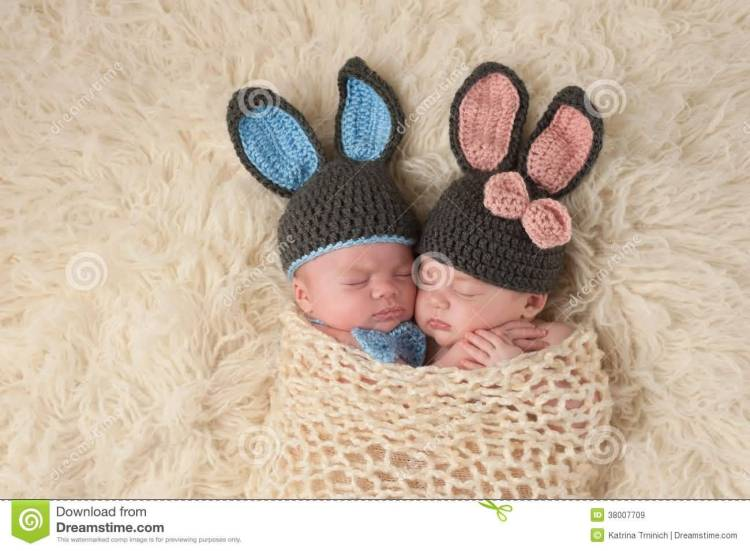 Funny Twin Baby Wearing Bunny Cap Image
