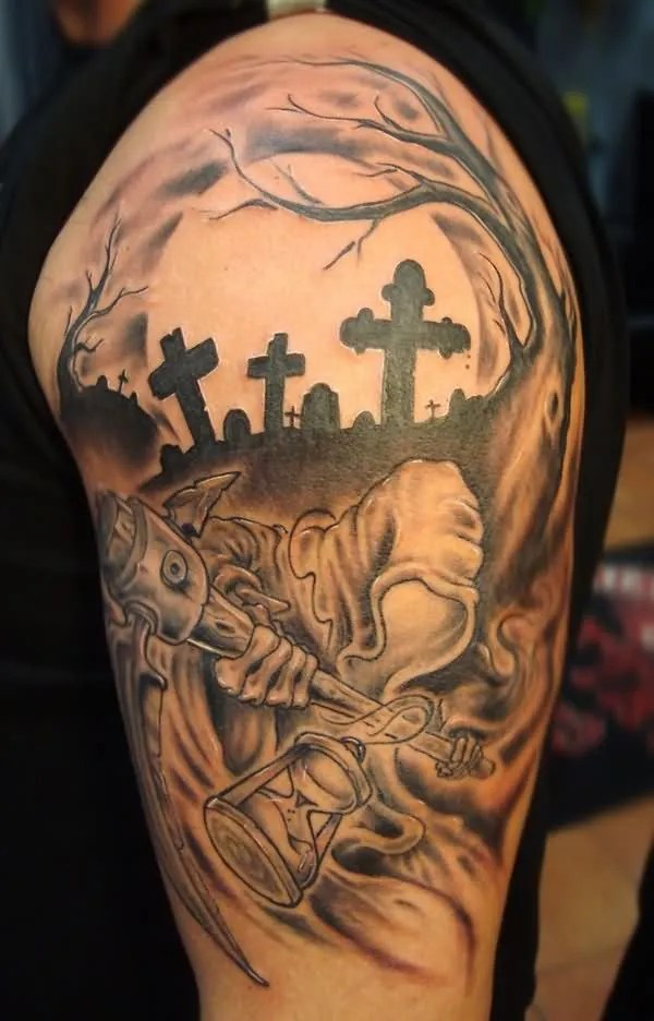 Gothic Grim Reaper In Grave Tattoo For Men Shoulder