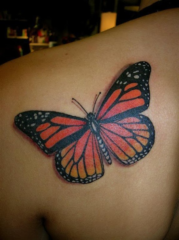 Groovy Red Black And Yellow Color Ink 3D Butterfly Tattoo On Girl's Back