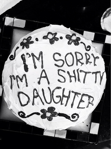 I'm Sorry Cake From Daughter Black & White Picture