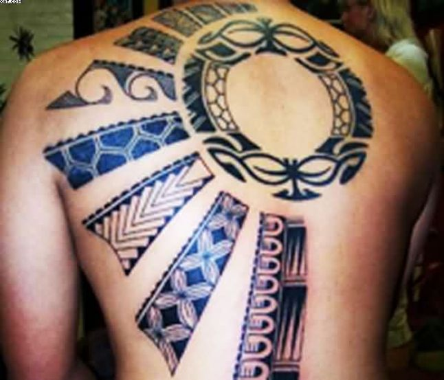 Innovative Grey Color Ink African Tribal Tattoo On Boy Back For Boys