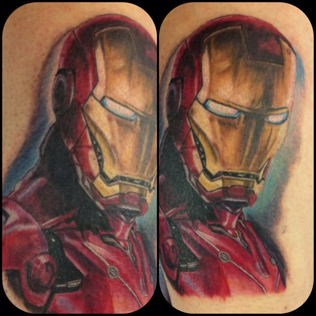 Latest Red Black And Yellow Color Ink 3D Ironman Tattoos On Boy Back