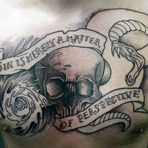 Lovely Grey Ink Skull Banner And Sanke Tattoo For Men Chest