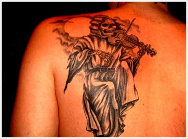 Lovely Grey Music Love Grim Reaper Tattoo For Men Back Body