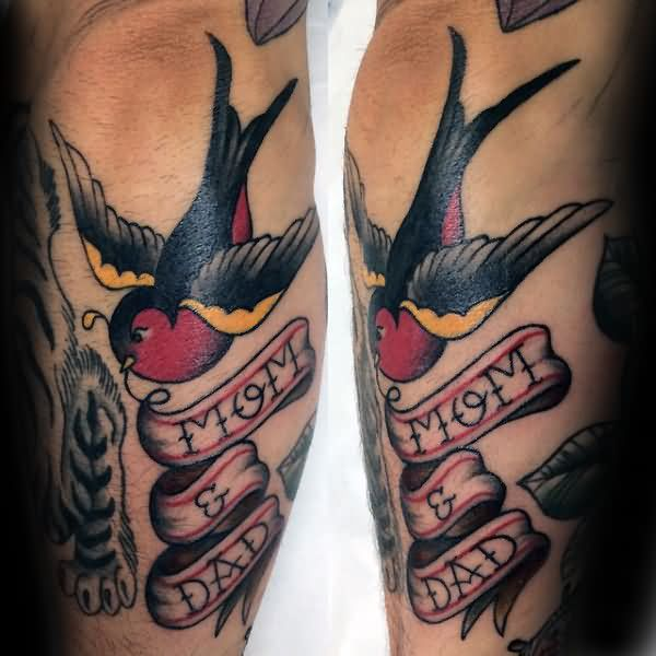 Lovely Swallow Bird Banner Tattoo Design For Men Forearm