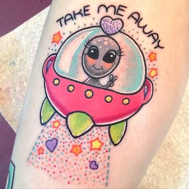 Lovely Tattoo Of Alien Girl In Ufo for girls