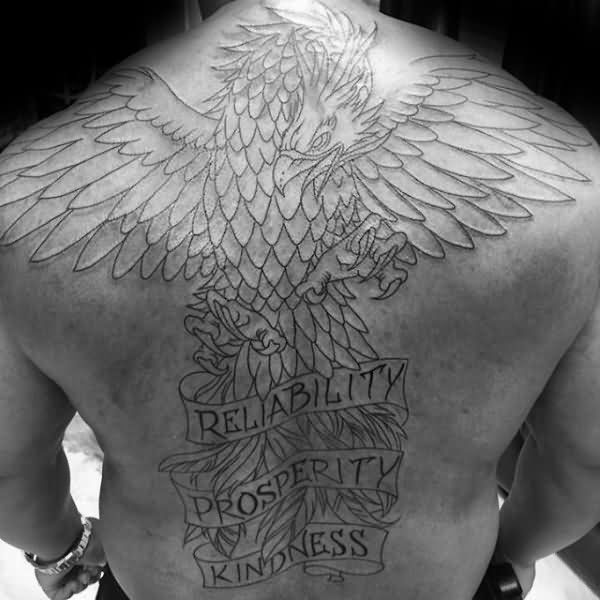 Mind Blowing Big Eagle Wings And Banner Tattoo For Men Back Body