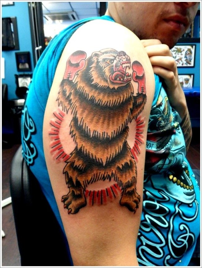 Mind Blowing Boker Bear Tattoo Design Made On Men Shoulder