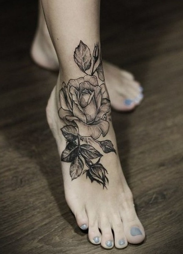 Mind Blowing Grey Rose Flower Leaf Tattoo On Girl Foot