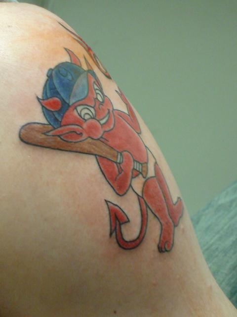 Mind Blowing Red Ink Animated Baby Devil Baseball Bat Tattoo On Shoulder