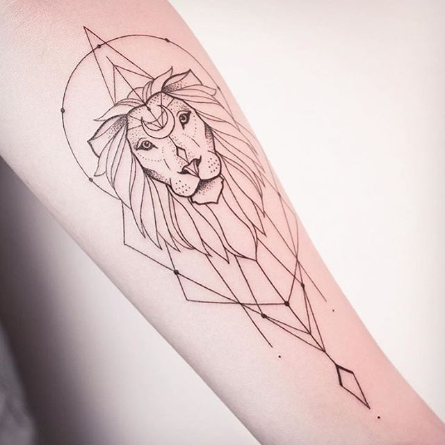 Mind Blowing Simple Black Ink Lion Tattoo Outline On Arm