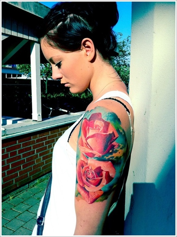 Most Amazing 3d Pink Ink Rose Flower Tattoo On Girl Upper Arm