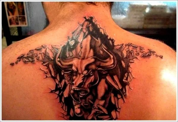 Most Amazing Grey Ink 3d Bull 3d Ripped Back Tattoo For Men