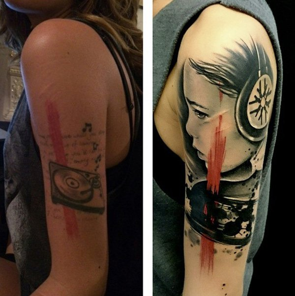Most Amazing Portrait Cover Up Sleeve Tattoo With Colourful Ink For Man And Woman