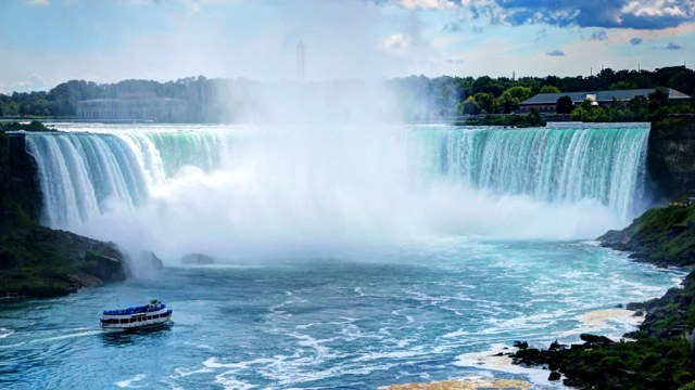 Most Beautiful View Of Niagara Falls With River In Beautiful Boat