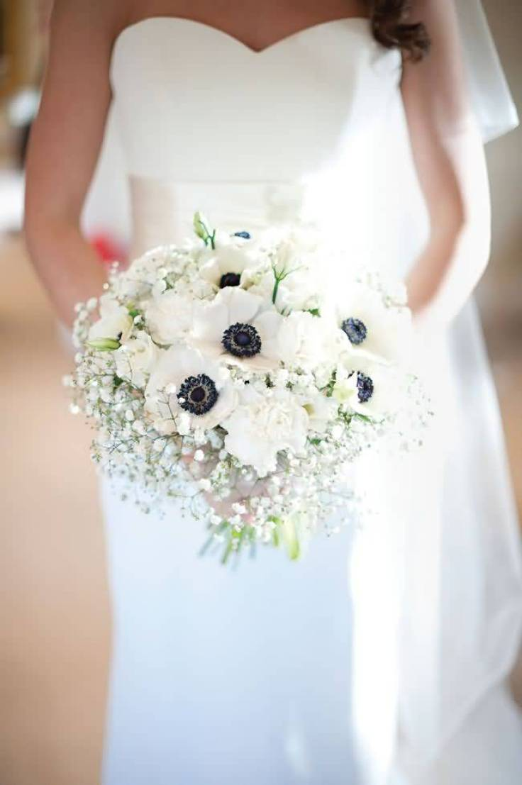 Nice White Anemone Flower Bouquet For Wedding