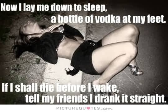 Now I Lay Me Down To Sleep A Bottle Of Vodka At My Feet If I Shall Die Before I Wake Tell My Friednds I Drank It Straight