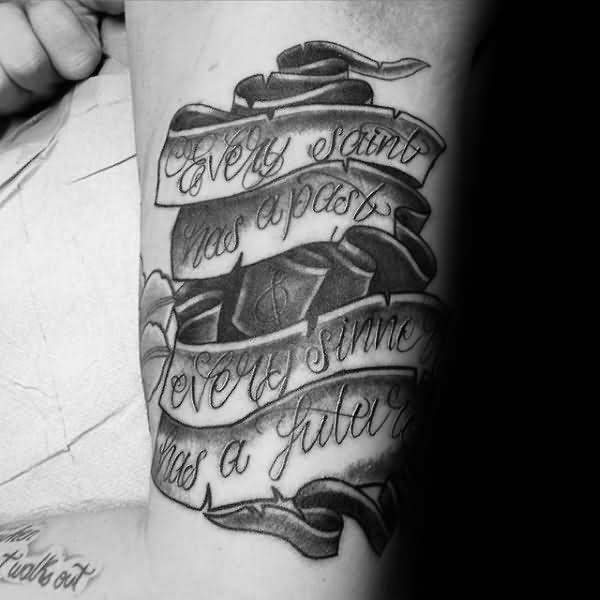 Outstanding Banner Quotes Tattoo Design On Men Upper Arm