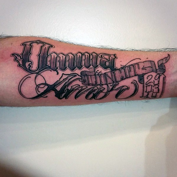 Outstanding Black Ink Banner Tattoo On Men Sleeve With Cool Fonts