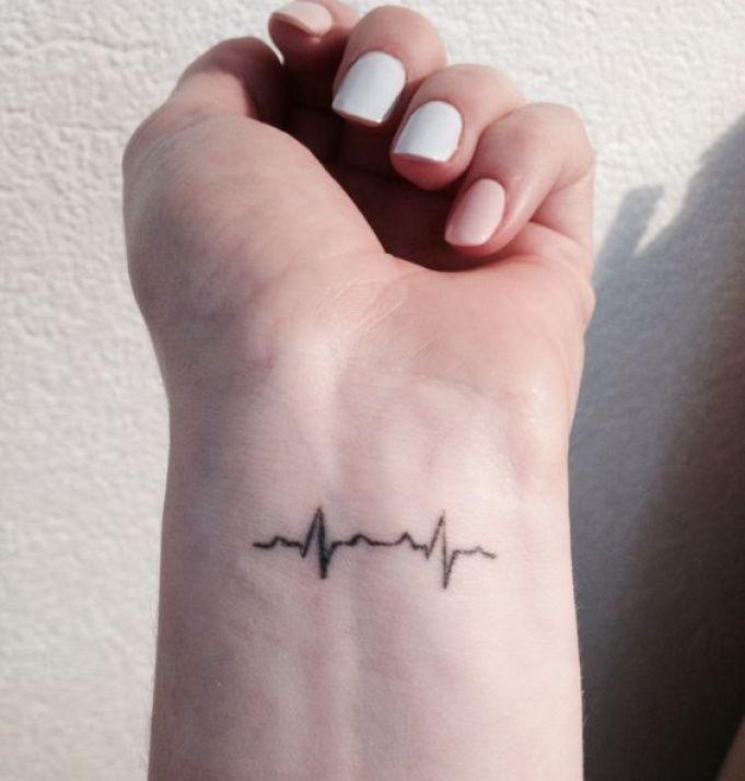 Outstanding Ekg Heartbeat Black Ink Tattoo For Women Wrist
