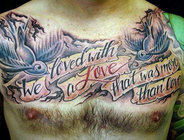 Outstanding Mocking Birds And Banner With Love Quote Tattoo Design For Men Chest